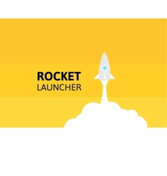 Yellow rocket and white cloud icon in flat style vector image