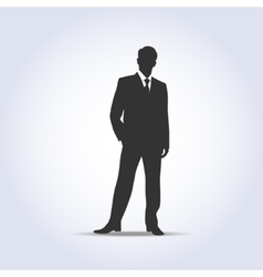 Standing businessman silhouette gray color vector