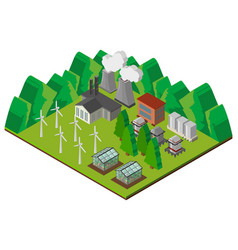 3d design for power station in the mountains vector