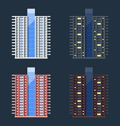 Set of high-rise residential buildings in flat vector
