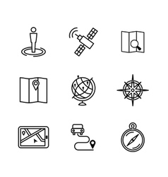 Location and navigation line icons vector image