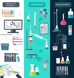 Set of chemical vertical banners science process vector