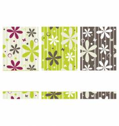 Retro banners with flowers vector