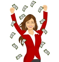 Woman happy seeing raining money bills vector