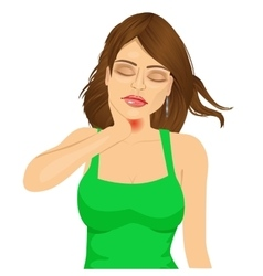 Woman touching her neck feeling sick vector