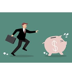 Businessman try to catch piggy bank vector