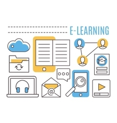 E-learning online education vector