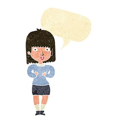 Cartoon shocked woman with speech bubble vector