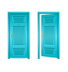 Blue door open and closed vector
