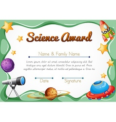 Certification template for science award vector
