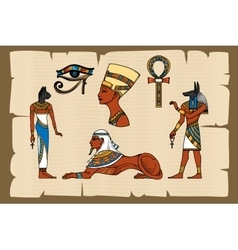 Ancient egypt symbols on papyrus vector