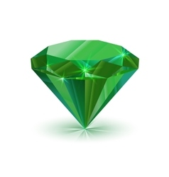 Dazzling shiny green emerald on white vector