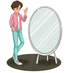 A sparkling mirror beside a fashionable young man vector image vector image
