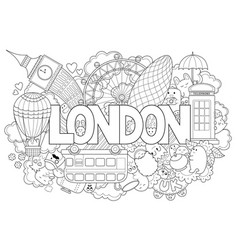 Abstract background with hand drawn text london vector