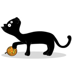 Black cat cartoon vector image vector image