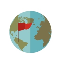 Blue sphere world with red flag vector