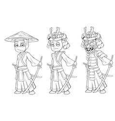 Cartoon ninja samurai with sword character set vector