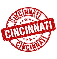 Cincinnati red grunge round vintage rubber stamp vector