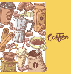 coffee hand drawn background with coffee beans vector image vector image