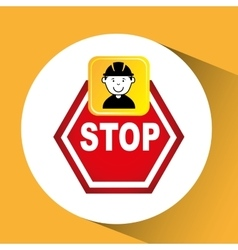 Construction worker sign stop graphic vector