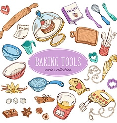 Doodle baking collection vector image vector image