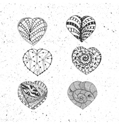 Doodle Valentines Day Hearts Set vector image vector image