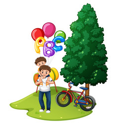 father and son with balloons in park vector image