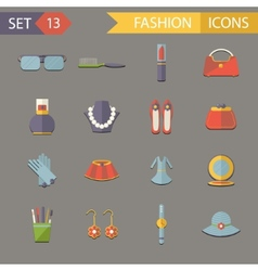 Flat Design Fashion Symbols Accessories Icons Set vector image