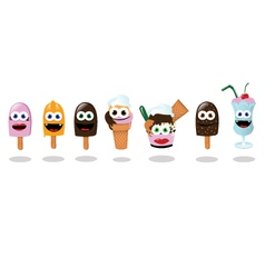 Funny Ice Creams vector image