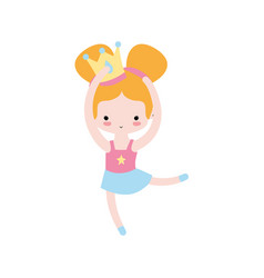 Girl practice perfomance with crown decoration and vector