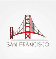 golden gate bridge - the symbol of us san vector image vector image