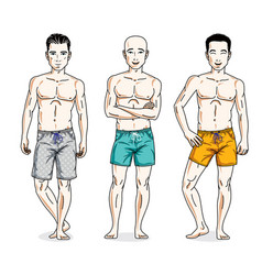 happy men posing with perfect body wearing beach vector image vector image