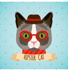 Hipster cat portrait vector image