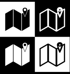 Pin on the map black and white icons and vector