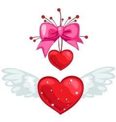 Red heart with wings and pink bow isolated vector image vector image