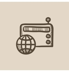 Retro radio sketch icon vector