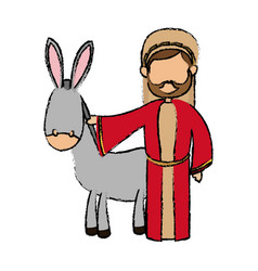 Saint joseph with donkey manger cartoon vector