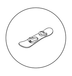 snowboard icon in outline style isolated on white vector image vector image
