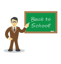 Teacher in front of chalkboard vector image