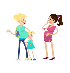 Two pregnant women and child vector