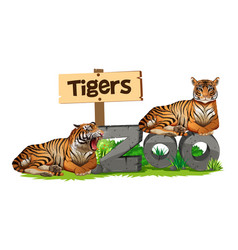 Two tigers on zoo sign vector