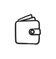 Wallet sketch icon vector