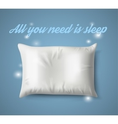 White pillow with magic on blue background real vector