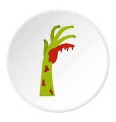 Zombie green bloody hand icon circle vector