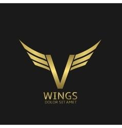 Wings V letter logo vector image