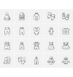 Baby clothes sketch icon set vector