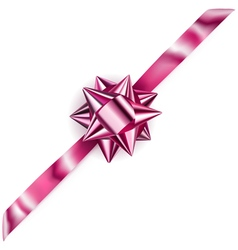 Beautiful pink shiny bow vector