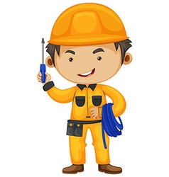 Electrician holding screwdriver and wire vector