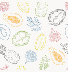 Pattern of exotic fruits on a light background vector