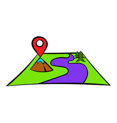 map with pin pointers icon icon cartoon vector image